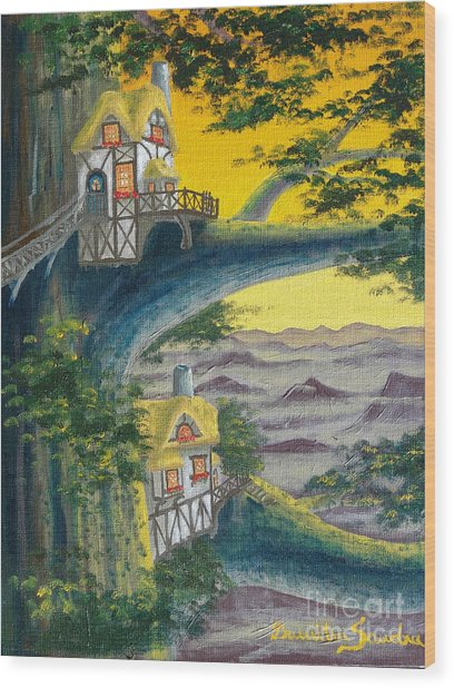 Sunset Cottage From Arboregal Wood Print