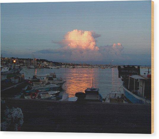 Sunset From Anzio Wood Print