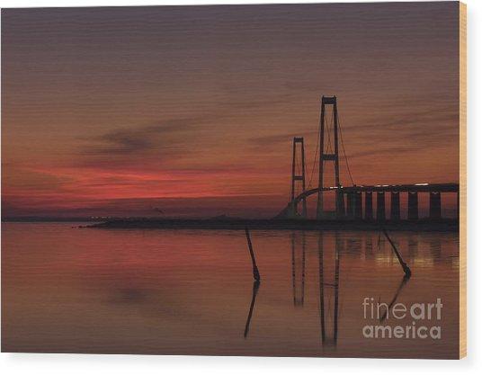 Sunset Great Belt Denmark Wood Print