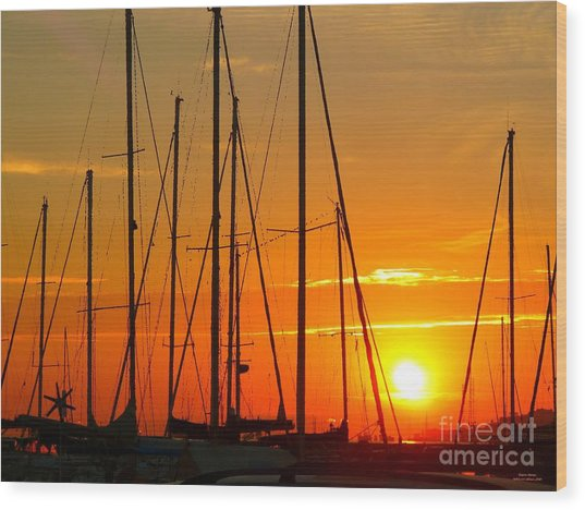 Sunset In A Harbour Digital Photo Painting Wood Print