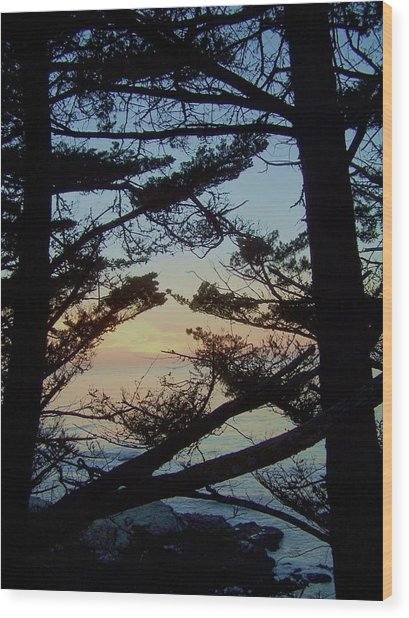 Sunset In Carmel Wood Print