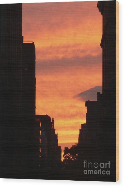 Sunset In Nyc Wood Print