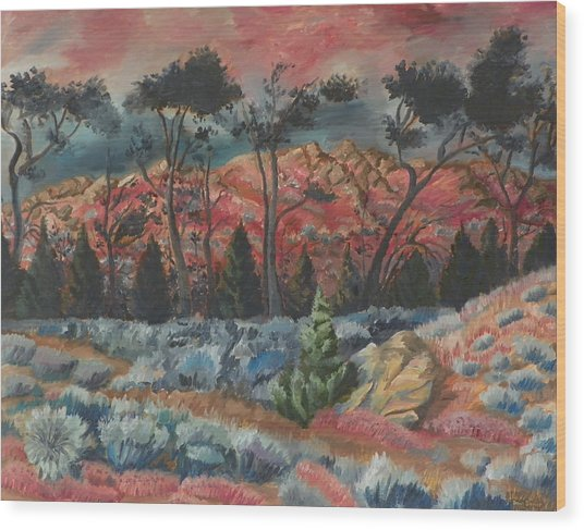 Sunset In The Cheatgrass Wood Print