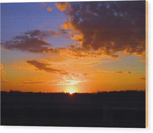 Sunset In Wayne County Wood Print