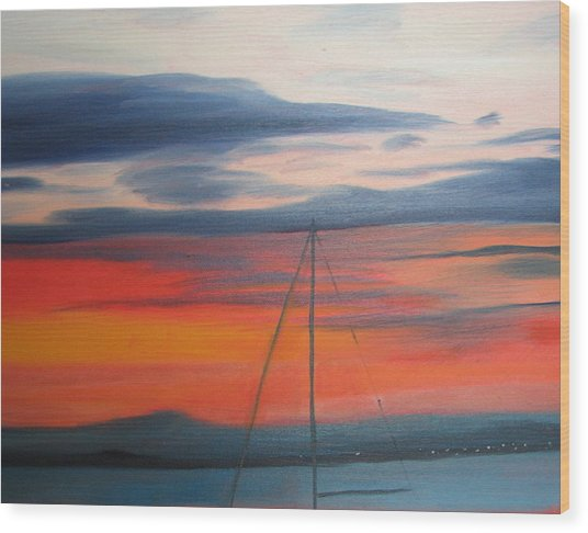 Sunset Wood Print by Iris Nazario Dziadul