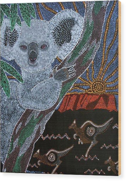 Sunset Koala And Kangaroo Wood Print