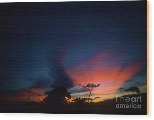 Sunset Leeward Oahu Wood Print
