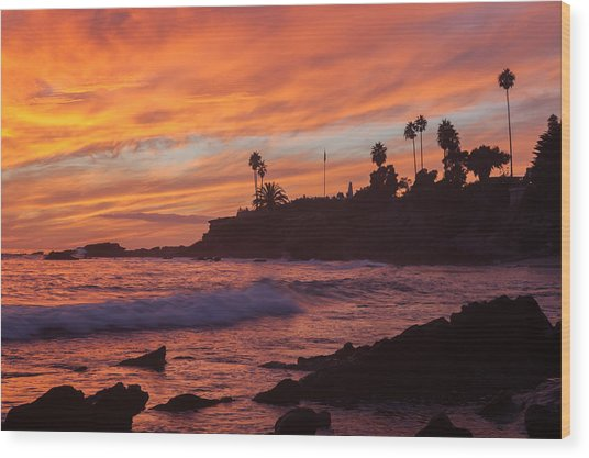 Sunset Off Laguna Beach Wood Print