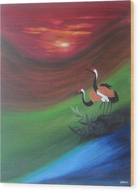 Sunset-oil Painting Wood Print by Rejeena Niaz