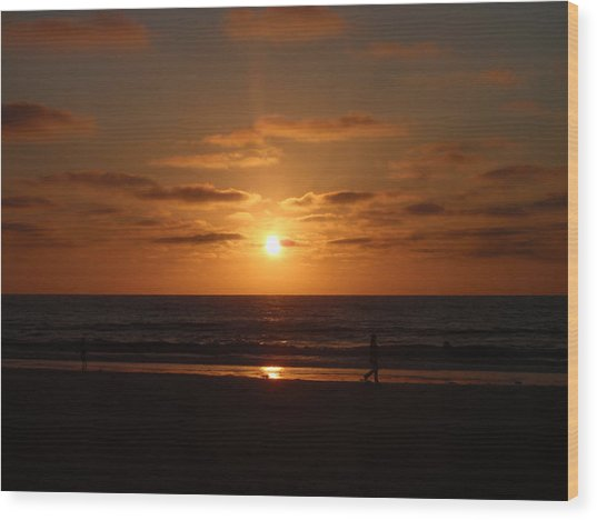 Sunset On A Beach In San Diego Ca Wood Print by Brittany Roth