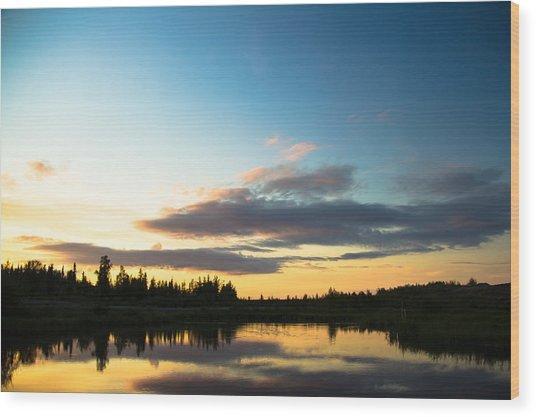 Sunset On A Lake Wood Print