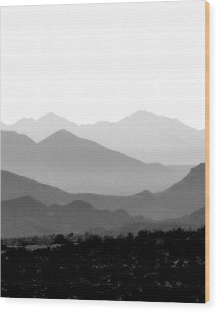 Sunset On Arizona Mountains Wood Print by Joe Johansson