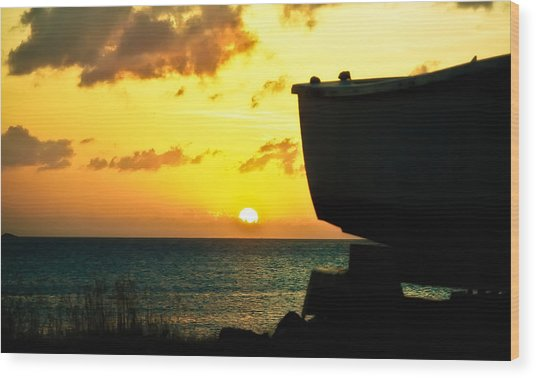 Sunset On Boat Wood Print
