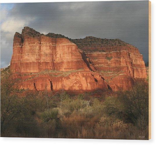 Sunset On Courthouse Butte Wood Print by Jimmy Fox