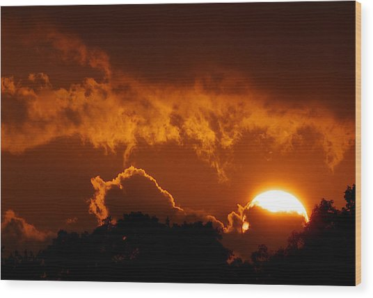 Sunset On Fire Wood Print