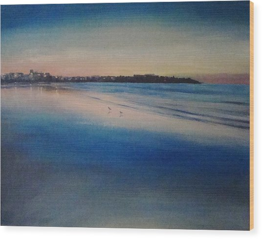 Sunset On Hampton Beach Wood Print by Mark Haley