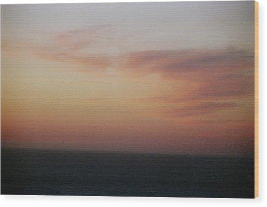 Sunset On Horizon Horizontal At Big Sur Wood Print by Christina Weber