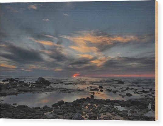 Sunset On Lake Michigan Wood Print