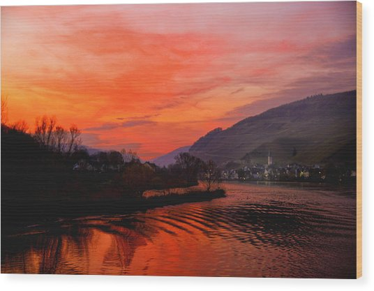Sunset On Rhine Wood Print