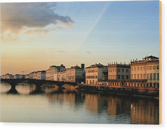 Wood Print featuring the photograph Sunset On The Arno 2 by Vicki Hone Smith