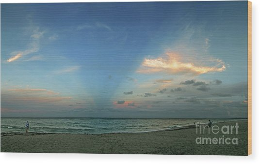 Sunset On The Atlantic Ocean Wood Print by Richard Nickson