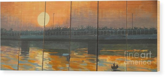 Sunset On The Canals Wood Print by Unknown - Local Iraqi National