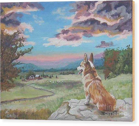 Sunset On The Corgi Farm Wood Print by Ann Becker