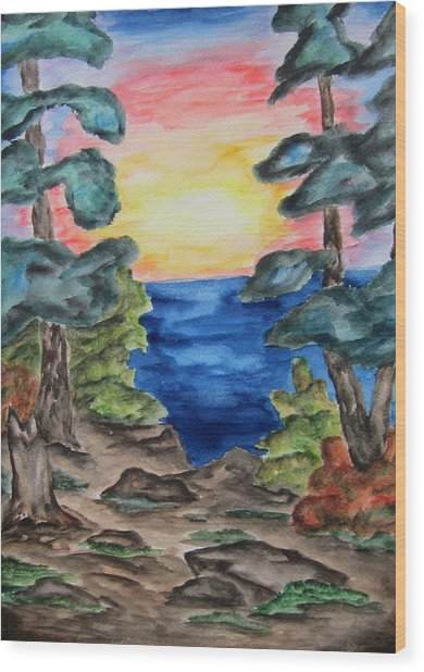 Sunset On The Great Lakes-wcs Wood Print