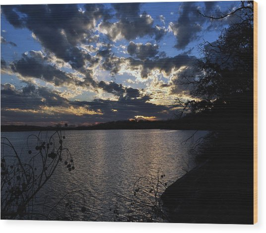 Sunset On The Lake Wood Print by Timothy Johnson