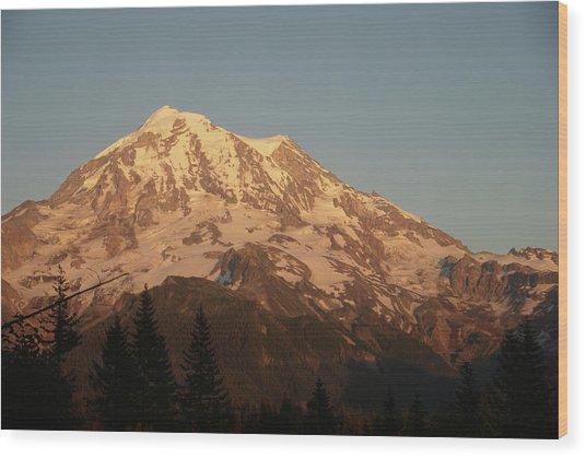 Sunset On The Mountain Wood Print