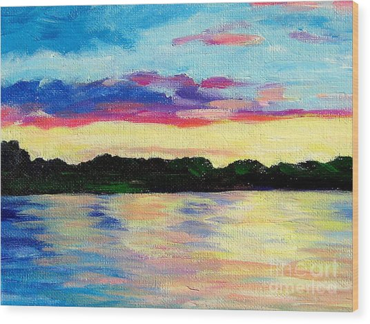 Sunset On Thornapple River Wood Print by Lisa Dionne