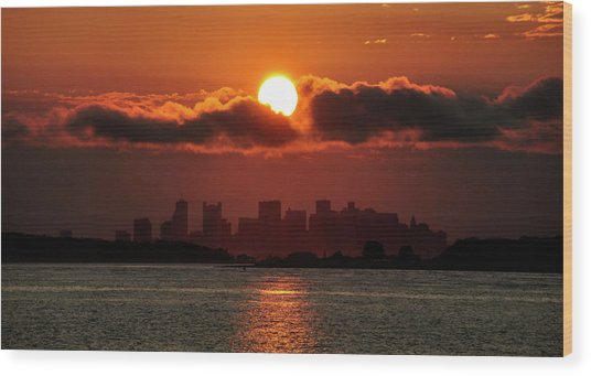 Sunset Over Boston Wood Print
