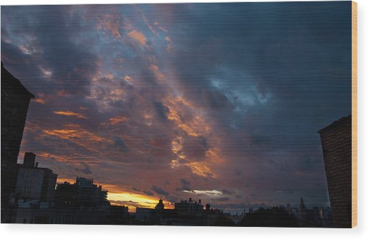 Sunset Over Brooklyn Post Irene Wood Print