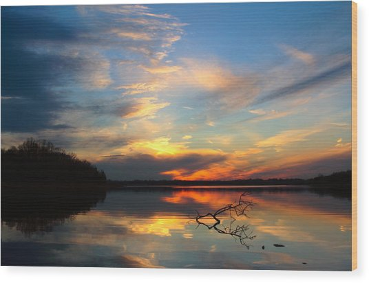Sunset Over Calm Lake Wood Print