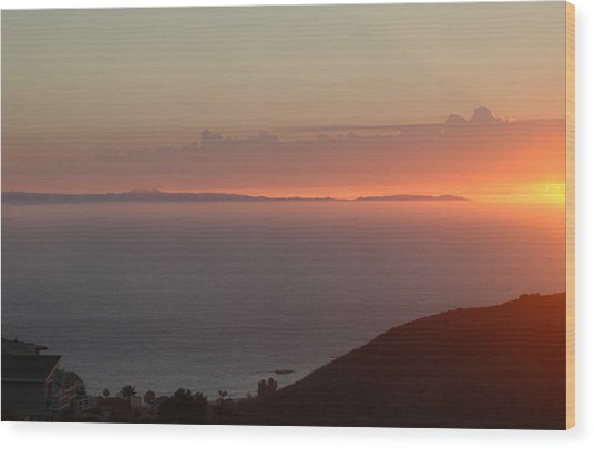 Sunset Over Catalina Wood Print by Russell Pierce