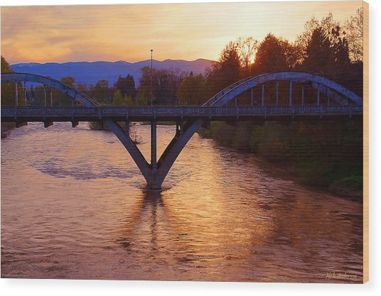 Sunset Over Caveman Bridge Wood Print