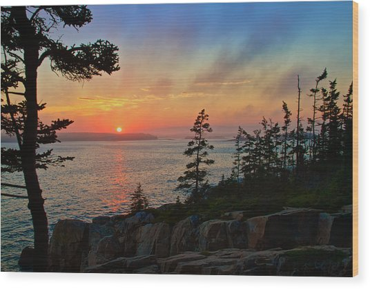 Sunset Over Frenchman's Bay Wood Print