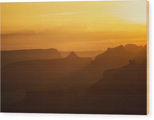 Sunset Over Grand Canyon Wood Print by C Thomas Willard