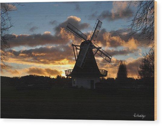 Sunset Over Oak Harbor Windmill Wood Print by Pam Headridge