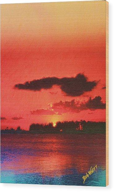 Sunset Over Three Lakes Wood Print