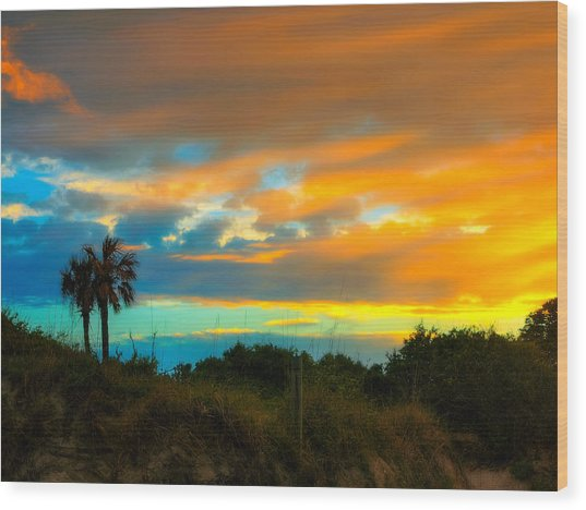 Sunset Palm Folly Beach  Wood Print by Jenny Ellen Photography