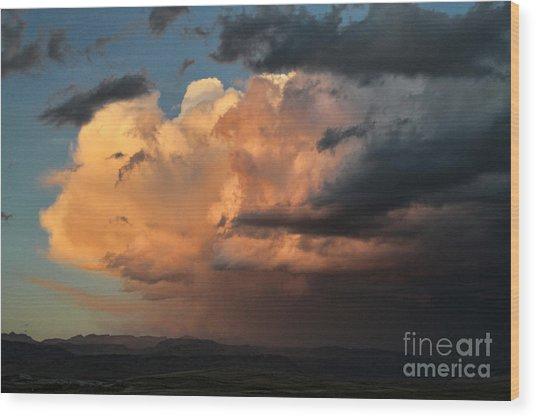 Sunset Rain Wood Print