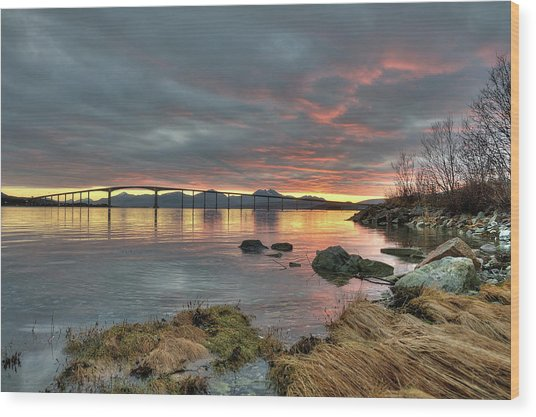 Sunset Reflecting Water,clouds, Sandnessund Bridge Wood Print by Bernt Olsen