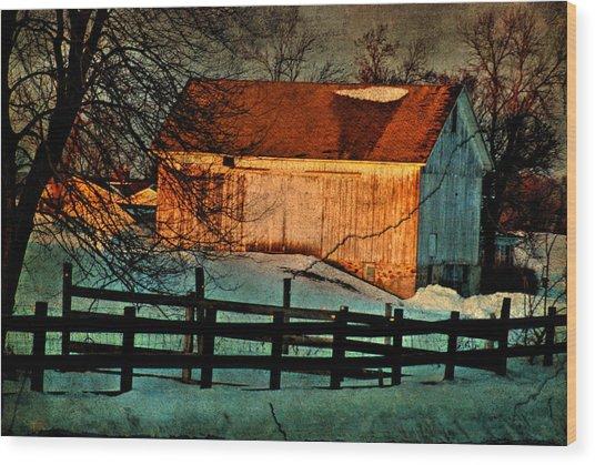 Sunset Reflects - Aged Photo Wood Print