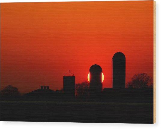 Sunset Silo Wood Print