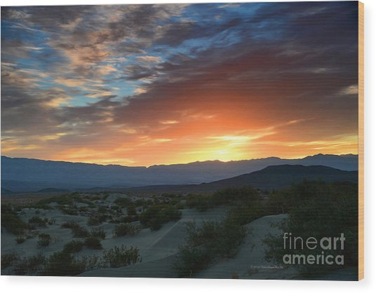 Sunset Sky Sand Dunes Death Valley National Park Wood Print