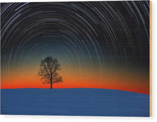 Sunset Star Trails Wood Print