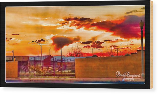 Sunset Station Wood Print