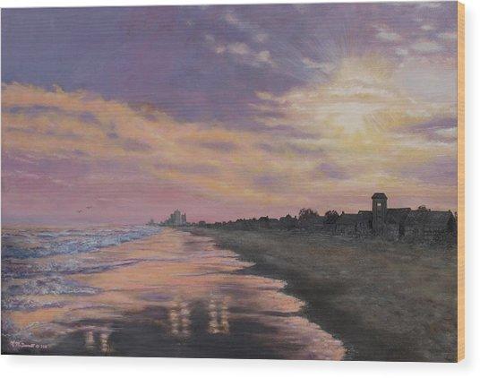 Sunset Surf Reflections Wood Print