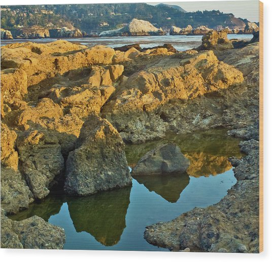 Sunset Tidepool Larry Darnell Point Lobos Central California Landscape Wood Print by Larry Darnell